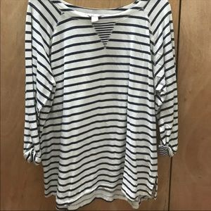 White Blouse with Navy Stripes